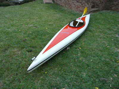 "kayak made by B-Line ""Petrel"" fibreglass with double sided paddle"