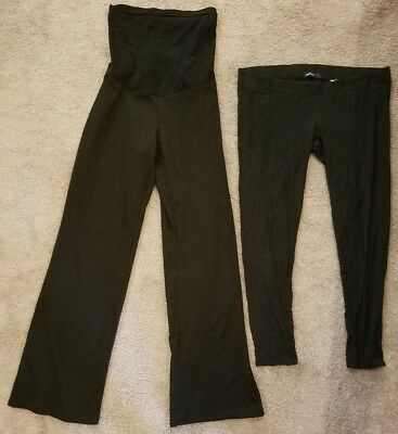 Lot 2 black maternity pants leggings stretchy (M) Gap, Oh Baby Motherhood, comfy
