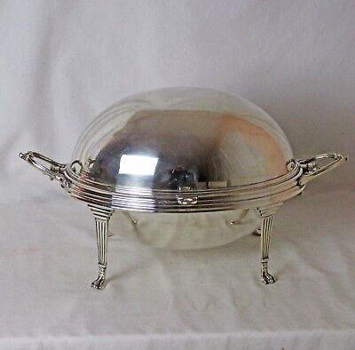 Large Victorian Silver Plated Roll Top Server Claw Feet Ryrie Jewelers Toronto
