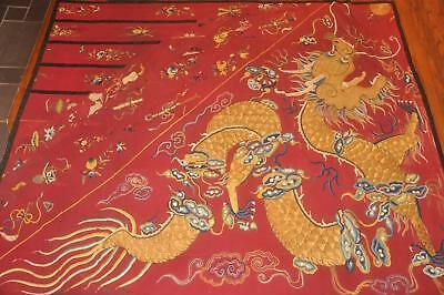 Antique Chinese Qing Dynasty Silk Panel - Dragon