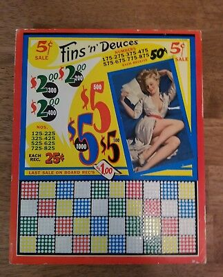 Vintage Punch Board Pin Up Girl Unpunched Fins N Deuces Excellent Condition