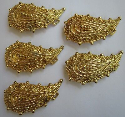 "Ladies/Womens Ornate Gold Tone, 3.75"" X 2"" Belt Buckles New Old Stock, Lot Of 5"