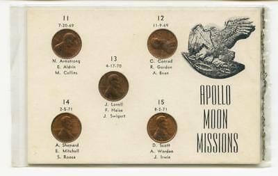 Apollo Moon Missions 5 Lincoln Cents That Are Counterstamped