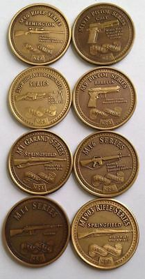 Complete NRA Classic Collector Series 8 Coin Brass Set - Military Firearms
