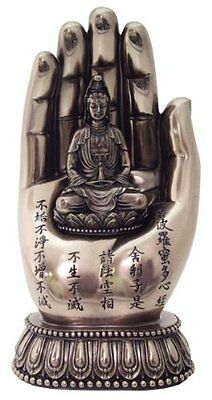 "7"" Quan Yin on Palm Kwan Yin Statue Eastern Deity Hand Figure Buddhism"