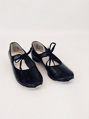 Dance Time Ladies Womens Black Patent Tap Shoes Size 7 w/ Laces