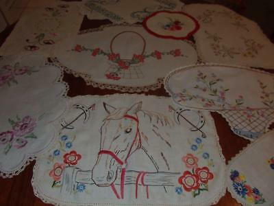 10 GORGEOUS VINTAGE EMBROIDED DOILIES~DOILYS~CROCHET EDGES~incl HORSE-DOPEY~VGC