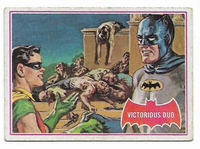 SCANLENS 1966 BATMAN RED SHIELD TRADING CARD 27A STRIKING OUT THE COBRA