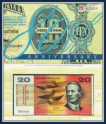 Australian $20 in Folder Commemorate 80th Anniversary of 1st Note printed in1913