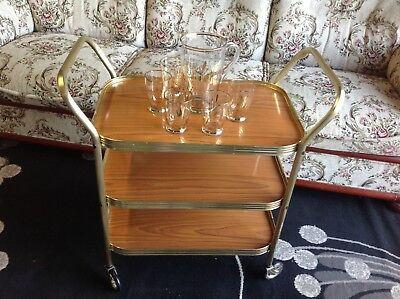 VINTAGE DRINK TRAY SERVING TABLE on WHEELS. Retro Coffee Table Party Trolley