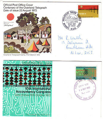 1972 FDC. Australia. Overland Telegraph & Accounting. 2 covers.