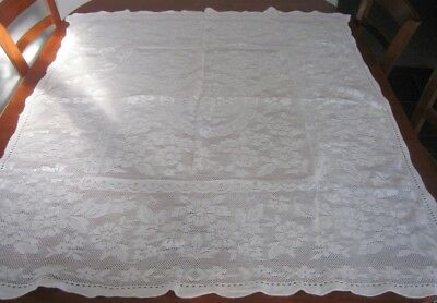 Vintage Lace Tablecloth ~ Cotton ~ White ~ Oblong