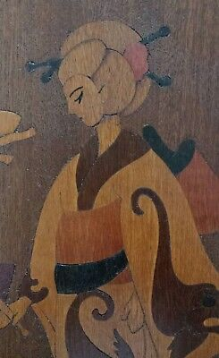 Wood Inlay Art Marquetry Picture Asian Woman