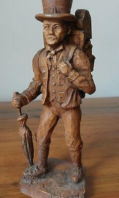 SIC french wood carving of a clock maker/vendor