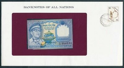 Nepal: 1974 1 Rupee Banknote & Stamp Cover, Banknotes Of All Nations Series