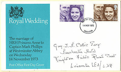 GB Stamps First Day Cover FDC Royal Wedding, HRH Anne and Mark Phillips 1973