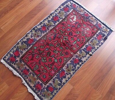 "Vintage Rug Kilim, Turcs Carpette, 27.4''x44"" Turkish Small Rug, Wool Teppiche"