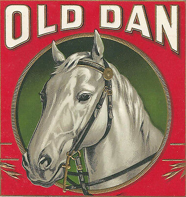 "Beautiful WHITE HORSE ""OLD DAN"" ANTIQUE CIGAR BOX LABEL SMALL-XXXLARGE (F)"