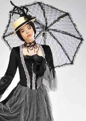 Victorian Ladies Black Lace Parasol