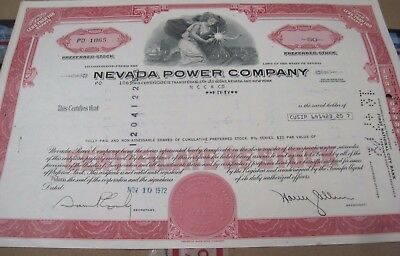 Nevada Power Co. OLD CANCELED STOCK  CERTIFICATE 1972