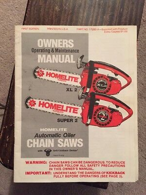 Vintage Homelite XL2 Super 2 Chainsaw Owners Operation & Maintenance Manual