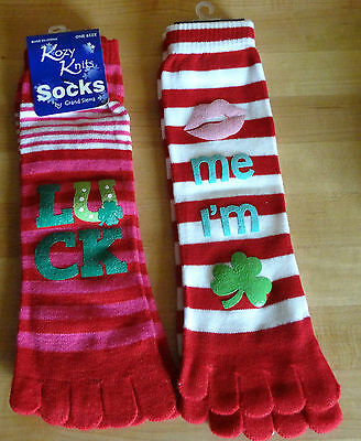 "Irish Toe Socks ""Kiss me I'm Irish"" Irish Lucky One Size Fits"