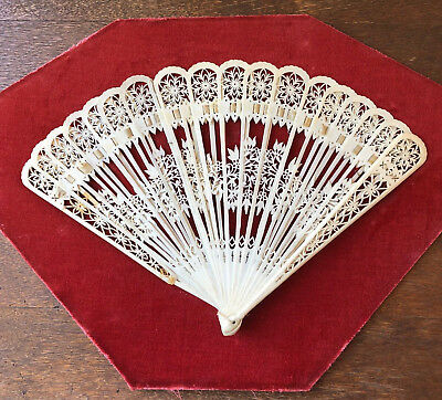"""Antique Chinese Carved Floral Theme BRISE Hand FAN - 12"""""""