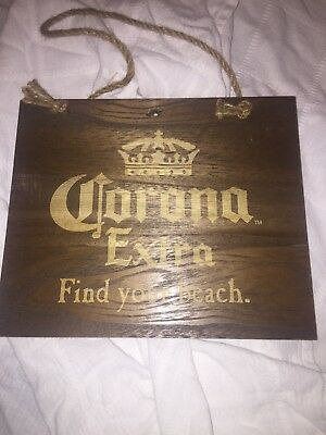 Corona Extra Find Your Beach Cerveza Beer Bar Man Cave Pub Wood Sign Tiki bar