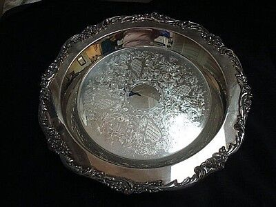 LARGE Vintage Round Lunt Silverplate Eloquence Serving Tray