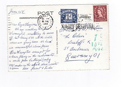 Evesham Postcard to Guernsey with Underpaid Charge Mark.