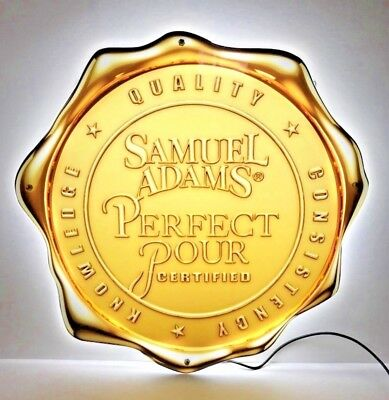 "Samuel Adams PERFECT POUR CERTIFIED AWARD LED Sign * NEW In BOX * - 18"" x 18"""
