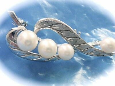 Hand Made Pearl & Crystal Cluster Brooch Pin 925 Sterling Silver Bp1183