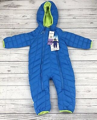 Snozu 9 12 Months Hooded SnowSuit Blue Quilted One Piece Winter Pram Infant New