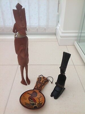 ANTIQUE AFRICAN TRIBAL ART, HAND CARVED figures x 2 and spoon