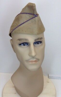 "Tan WWII US Army ""Overseas"" Cap - Hat - Army Air Force - Air Corps"