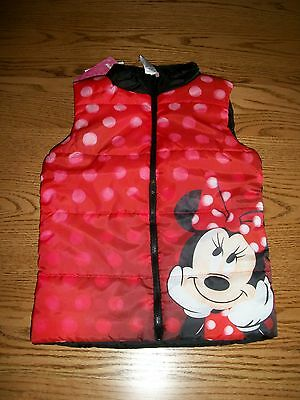Disney Minnie Mouse Girls Red Puffer Zip Up Vest 5  6X New With Tags