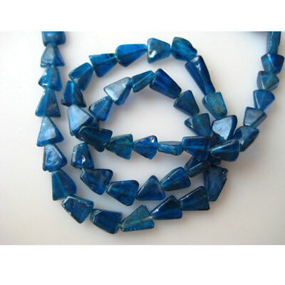 Neon Blue Apatite Triangle Tumbles Beads 6mm Beads 13 Inches Strand