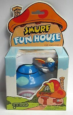 1982 SMURF FUN HOUSE windup MINT in box by Galoob unused BLUE Roof version