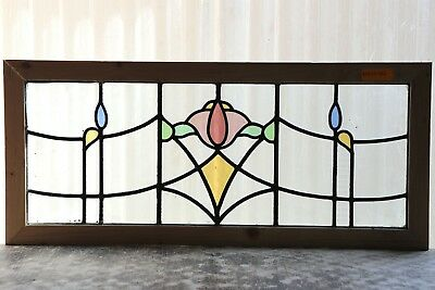 Large Antique Stained Glass Transom Window Six (6) Color Art Deco Tulip (3130)