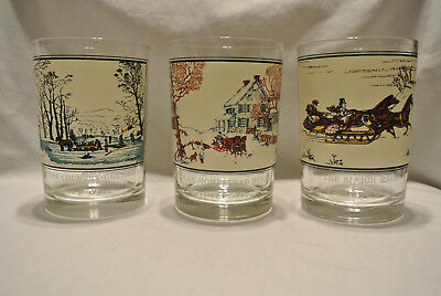 Lot of 3 Vintage CURRIER AND IVES Arby's Christmas Highball Glasses