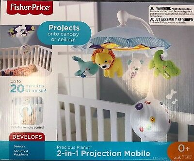 FISHER PRICE PRECIOUS PLANET 2 IN 1 PROJECTION MOBILE WITH REMOTE Brand New