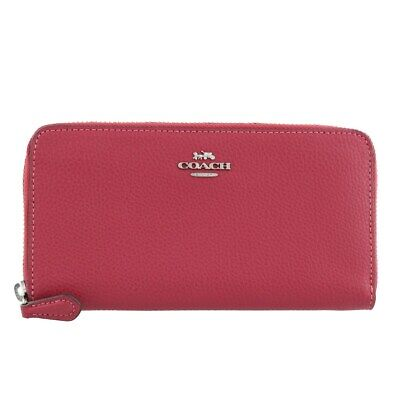 Coach F16612 IMROU Rouge Pebble Leather Accordion Zip Around Wallet Pink NWT NEW