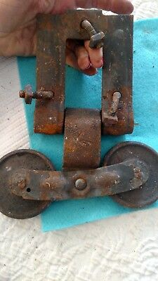 old rusty barn door roller