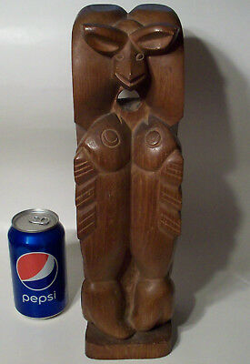 Pacific Northwest Coast Indian Totem Pole Carved Wood Native American