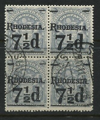 Rhodesia 1909 7 1/2d on 2/6d in a used block of 4