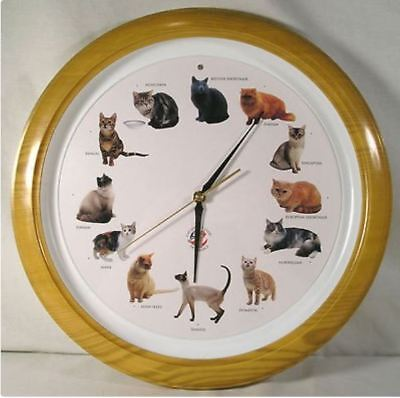"Large 13"" Cat Lover's Club Of America Cat Clock,Cat Wall Clock w/Hour Meow Sound"