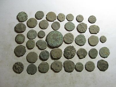 Very interesting lot of 40 Roman uncleaned coins all sizes l/221