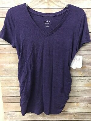 f22d2b8d520 Ingrid Isabel Maternity Tee T-shirt New V Neck Purple Small Shirred Ruched
