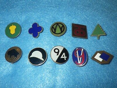 Original WWII US Army Patch DI Set -10 Items - All Different - Lot D