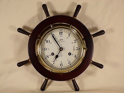 Vintage Schatz Royal Mariner Full Sized Ship's Bell Wheel 8 Day Brass Clock